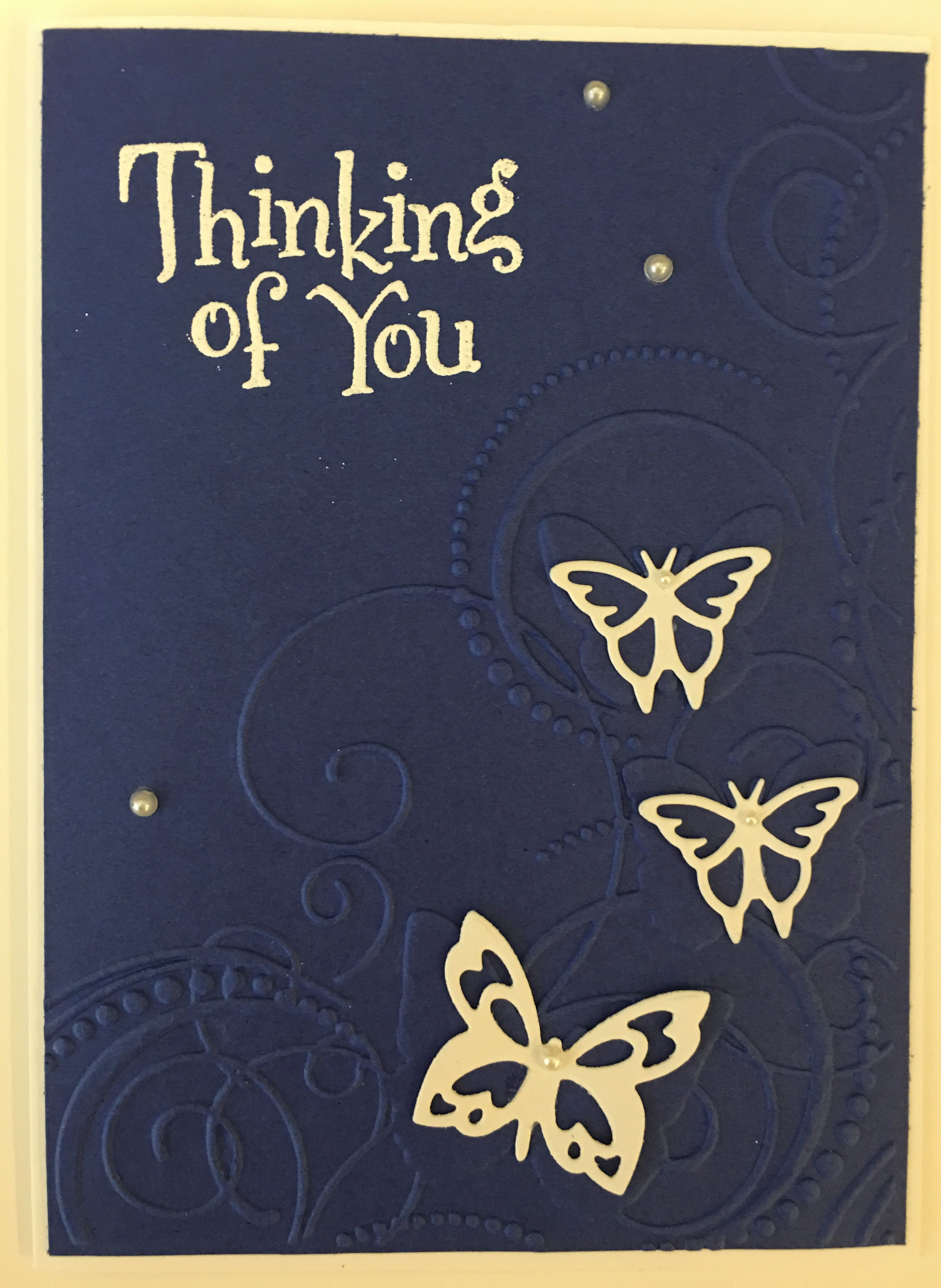 Cby Handmade Navy Blue Thinking Of You Greeting Card With Embossed