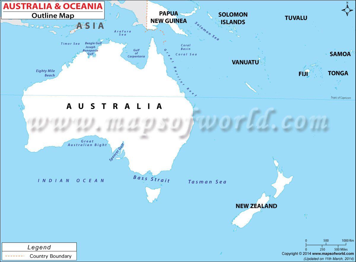 Blank World Map Of Australian Continent Outline Australia
