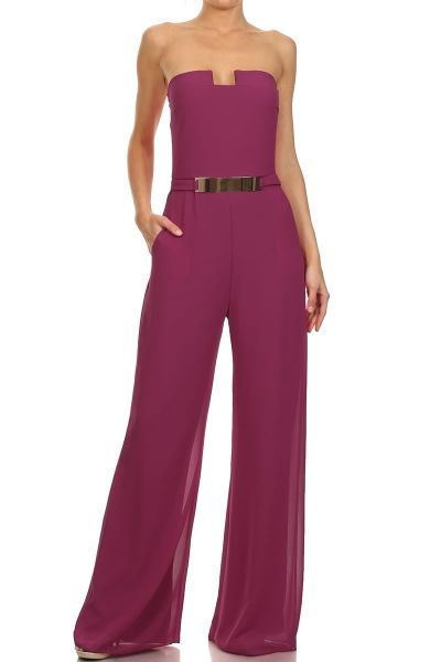 How would you style the Jumpsuit ? Solid Strapless Full Length Jumpsuit.
