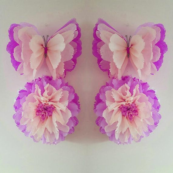 1 wall flower 1 butterfly girls birthday party decorations - Como hacer mariposas de papel para decorar paredes ...