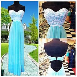 Prom 2015, Sweetheart strapless open back ice blue chiffon handmade prom dress for teens, ball gown, evening dress https://www.promdress01.com/#!product/prd1/4078365481/pink-chiffon-backless-rhinestone-formal-prom-dress
