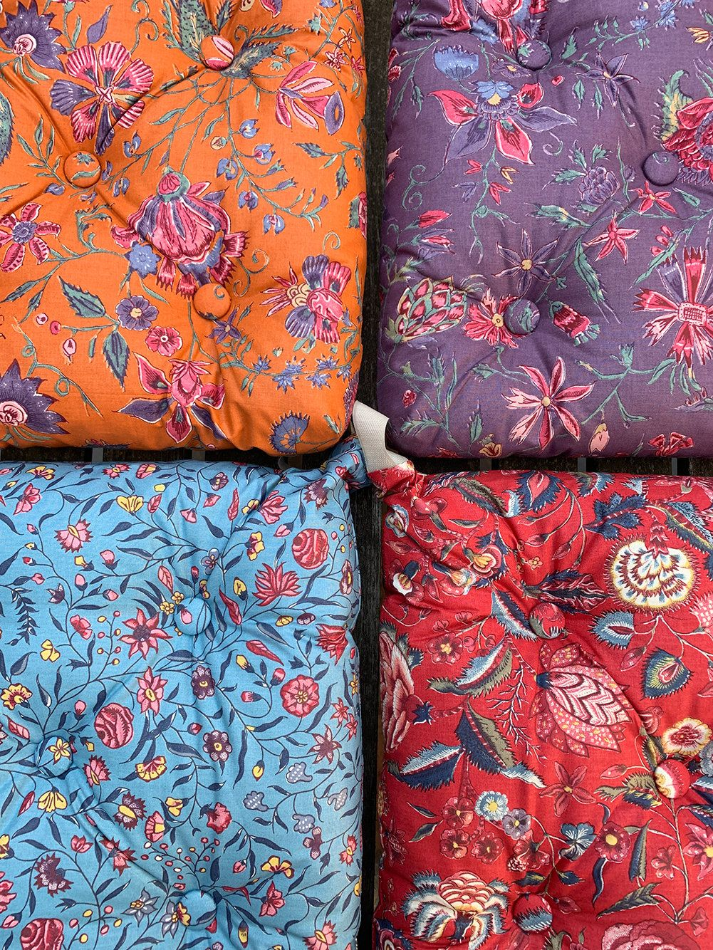 Floral Chair Pad Tufted Cushion Seat Padded Buttoned With Ties Etsy In 2020 Chair Pads Floral Chair Floral Seat Pads