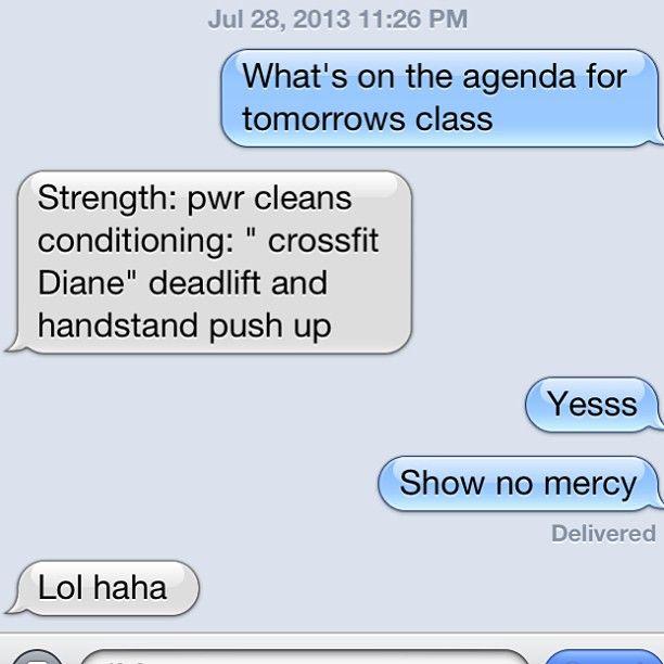 Sometimes I text coach in advance just so I can mentally prepare myself! get ready @Farrah Weinstein! #crossfit #crossfitgirls #crossfitdiane #wod #powercleans #lift # #wod #fitfam - http://www.girlsworkhard.com/sometimes-i-text-coach-in-advance-just-so-i-can-mentally-prepare-myself-get-ready-farrahjoy-crossfit-crossfitgirls-crossfitdiane-wod-powercleans-lift-wod-fitfam/