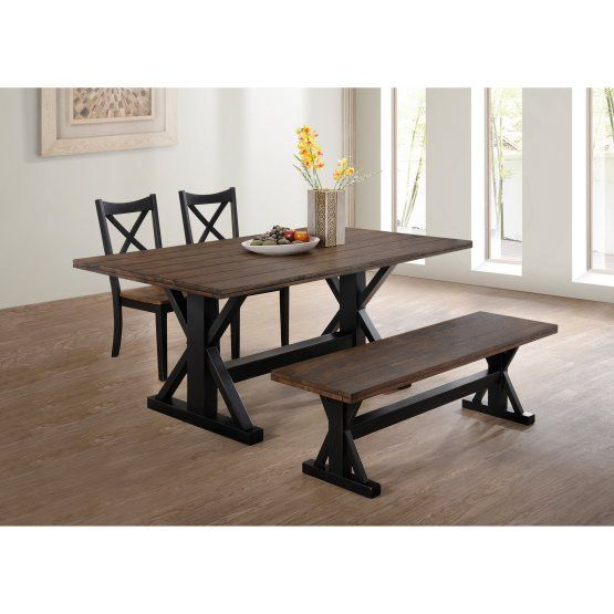 United Furniture Lexington Dining Table Black And Rustic Oak