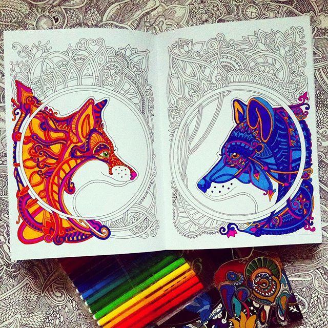 Fox and wolf 🐾 Лиса и волк в нарисованной мной книге ...