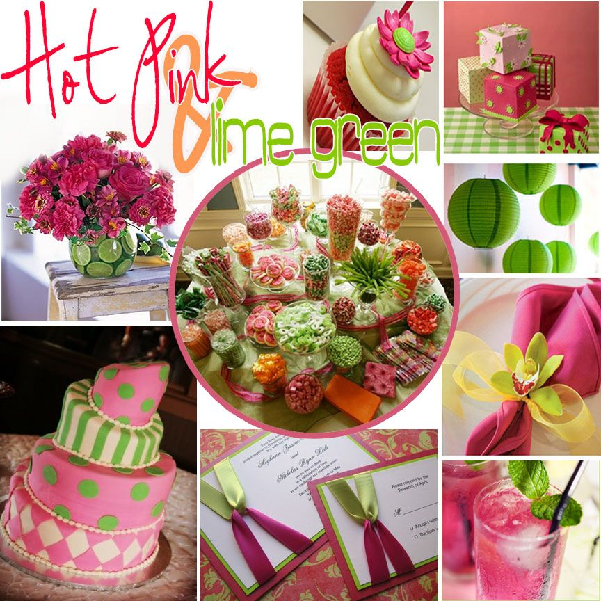 Pink And Green Table Decorations