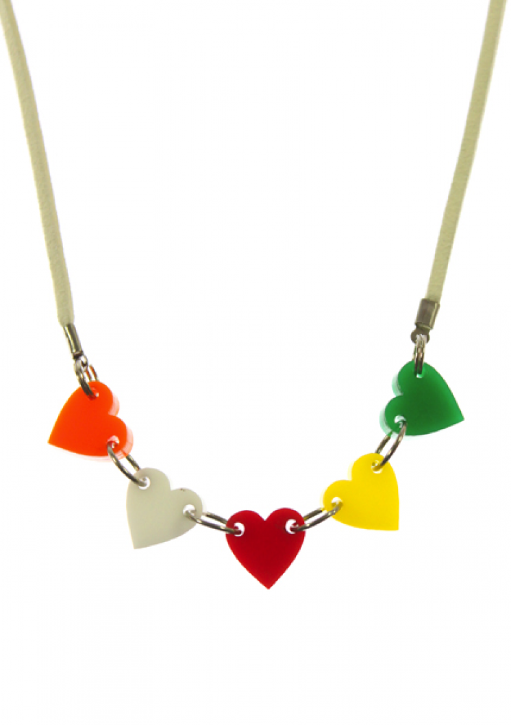 Rainbow Hearts. Color her world with our Rainbow Hearts necklace. 5 colorful laser cut acrylic hearts on a white suede cord