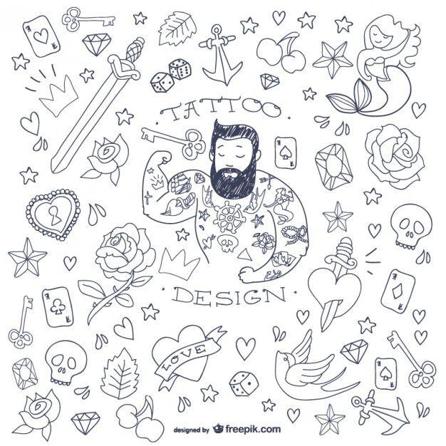 Lade Tattoo-mann Doodle Symbole kostenlos herunter