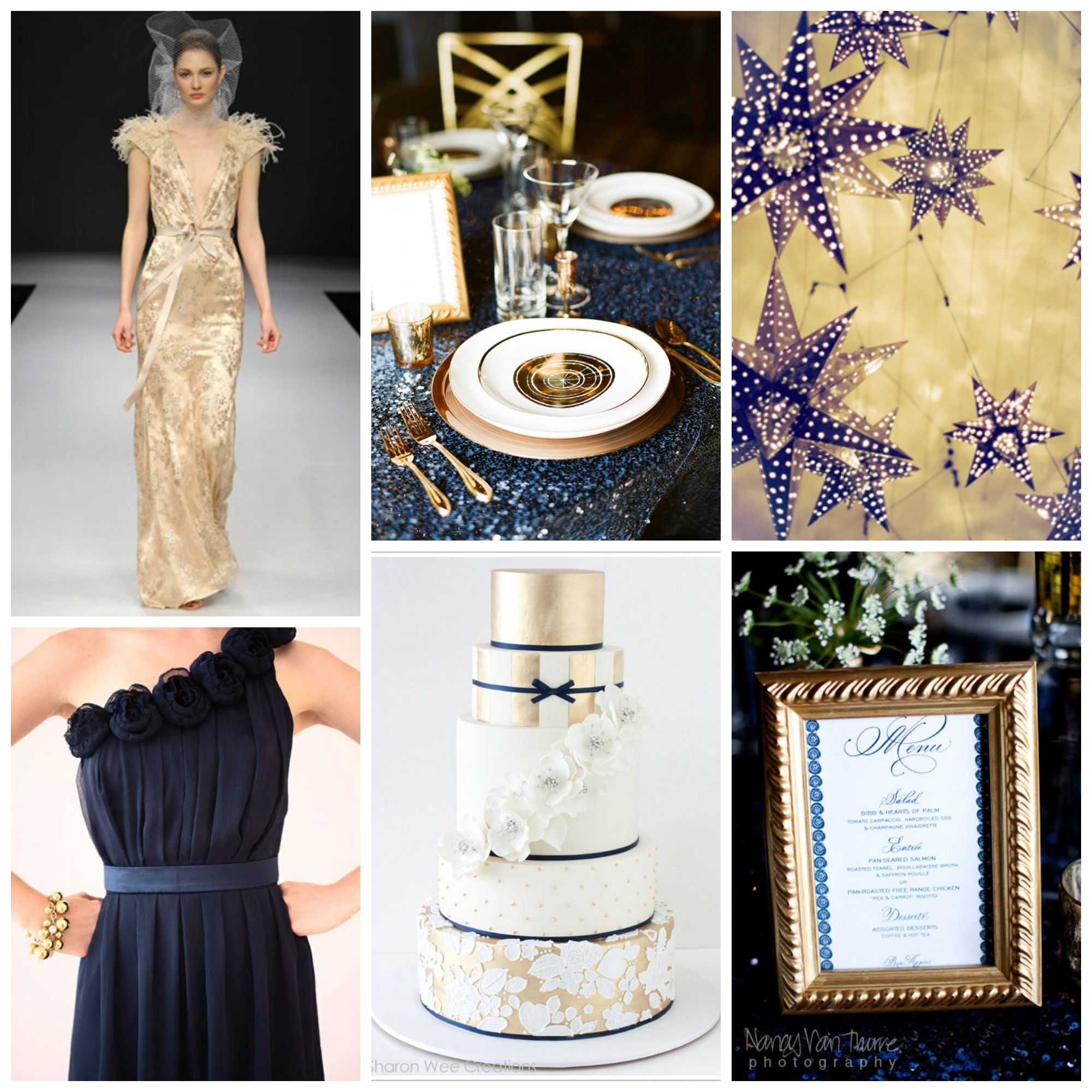 Gold And Navy Blue Together For Weddings // Omg I Love The Cake