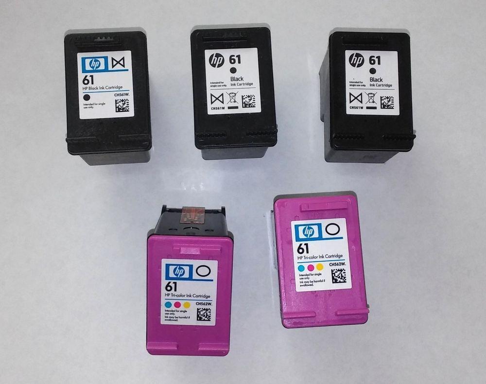 Lot Of 5 Genuine Hp 61 Empty Virgin Ink Cartridges Black And Color Ink Cartridge Cartridges Black