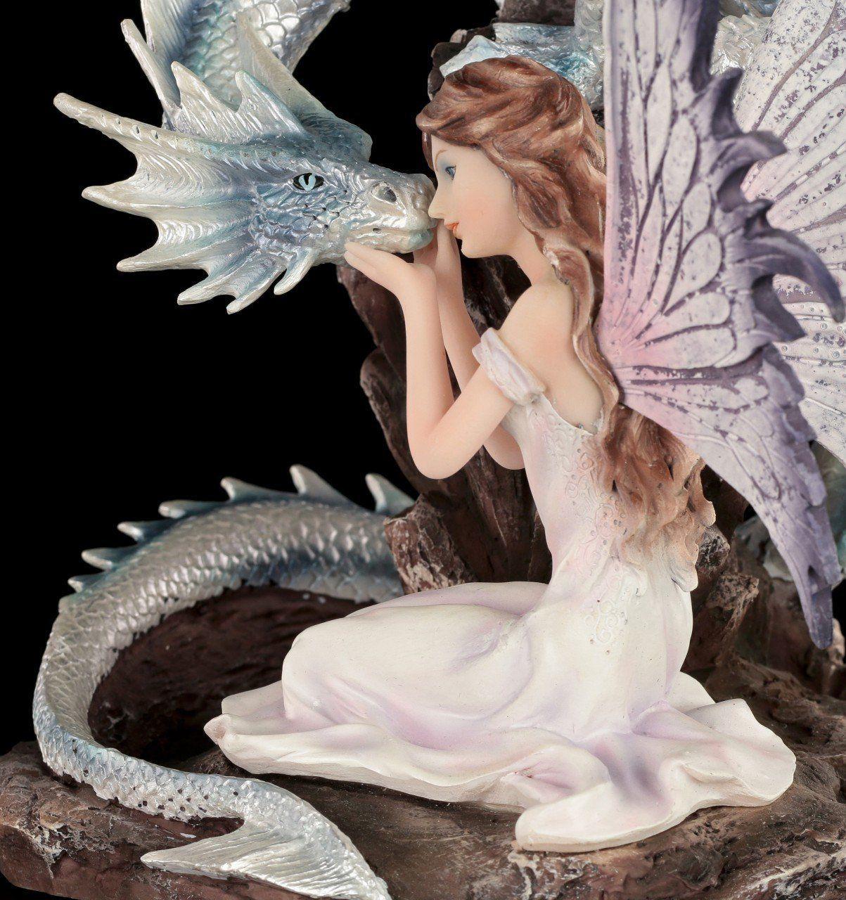 Elf figure with white Dragon - Zada and Silverline - Höhe: 26,5 cm ...