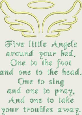 Fünf kleine Engel Gebet Maschine Stickerei Design-Muster für 5 x 7 Hoop von Titania Kreationen. Sofort-Download #grandchildrenquotes