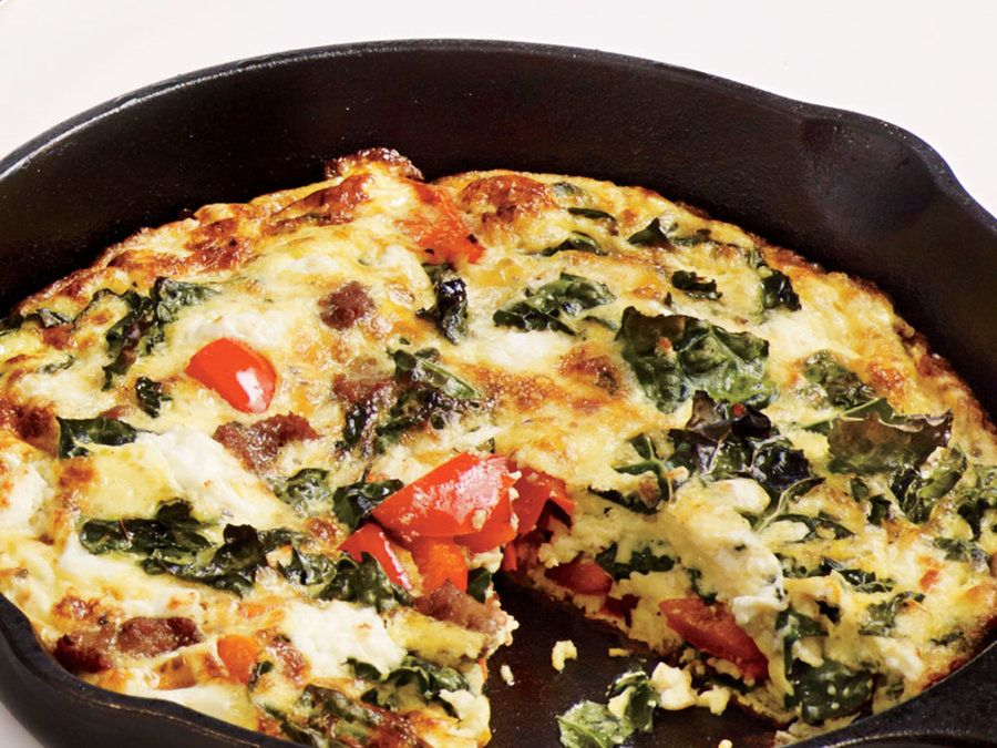 We love that kale gets thrown into this egg-based skillet.To avoid overcooking, pull the pan from the broiler when almost set, then let stand 10 minutes. View Recipe:Sausage, Feta, and Kale Frittata