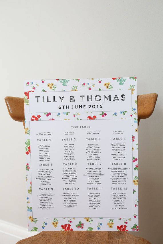 Ditsy Design Wedding Seating Plan By Lucysaysido On Etsy