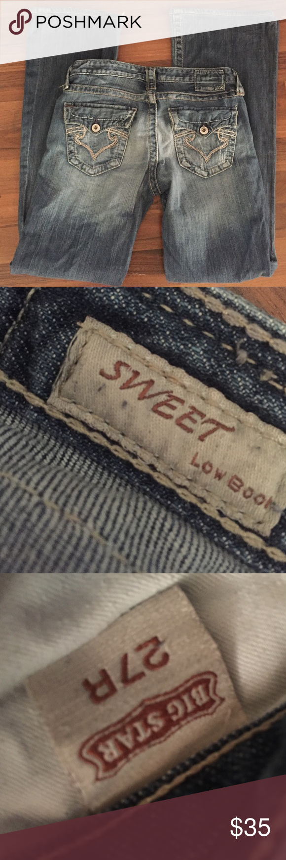 Big star low rise boot jeans Great condition sweet Lo rise.  32 inch inseam Big Star Jeans Boot Cut