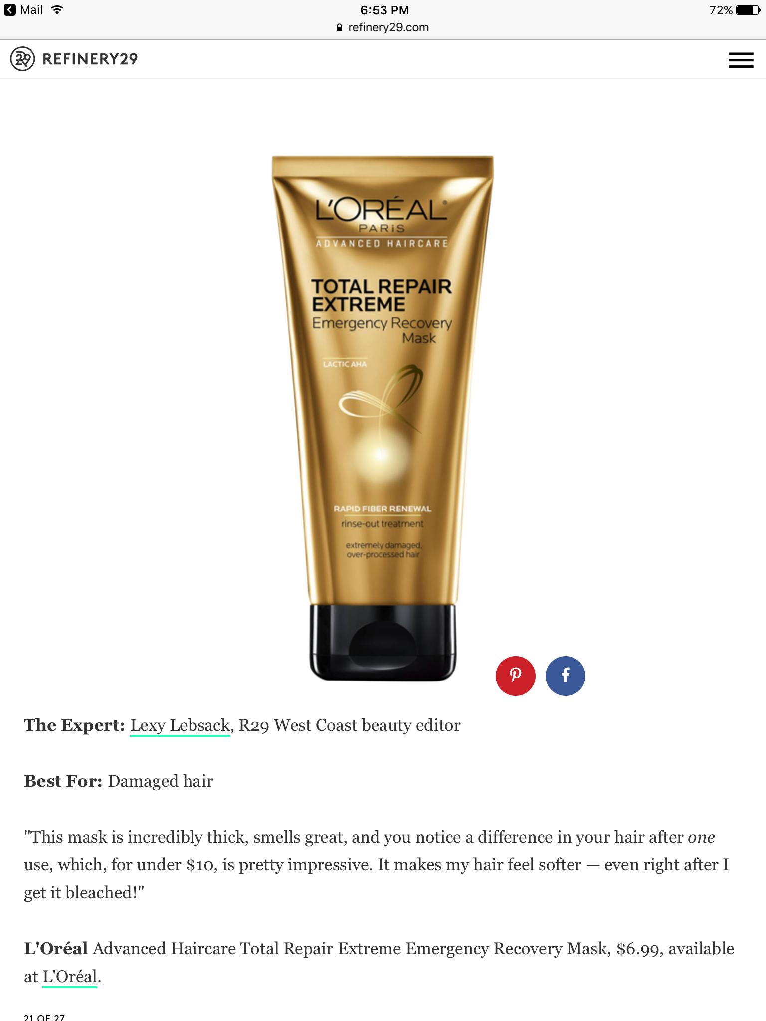 L'Oréal Total repair extreme Mask Loreal paris, Loreal