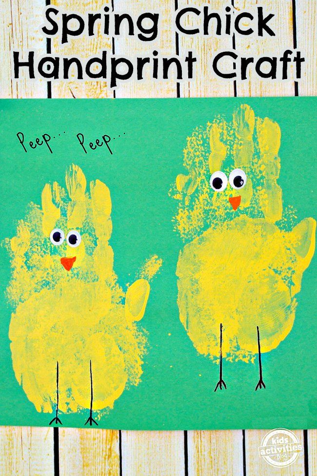 Spring Chick Handprint Craft Activities For Kids Spring Toddler