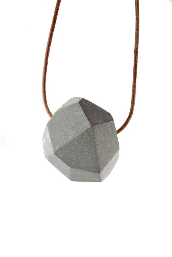 faceted concrete necklace