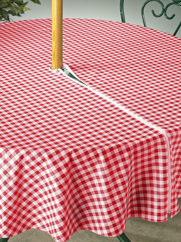 Zip Off Vinyl Umbrella Tablecloth Table Cloth Vinyl Tablecloth Diy Tablecloth