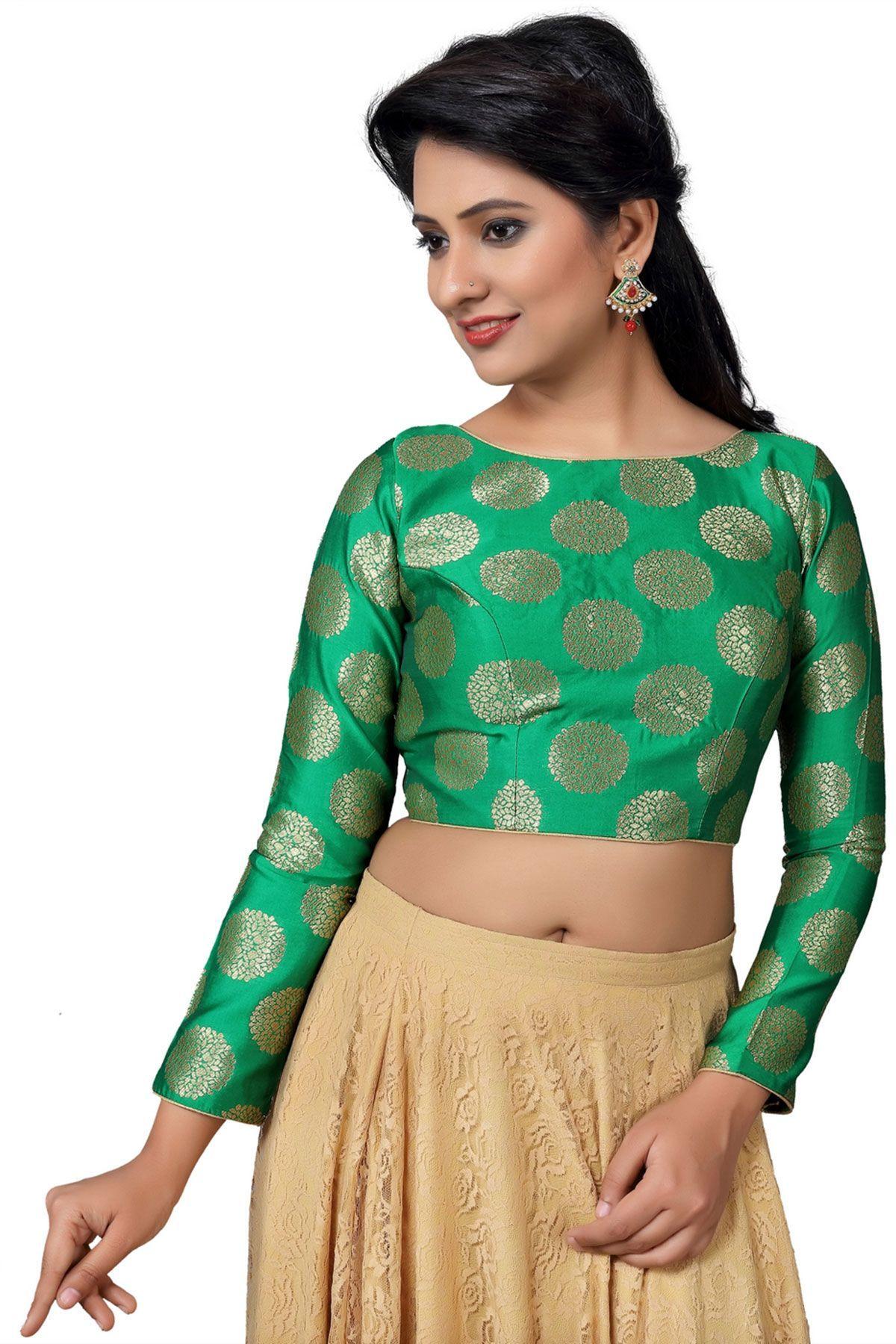 fde17b7289456 Green Brocade Designer Banarasi Blouse-BL1812