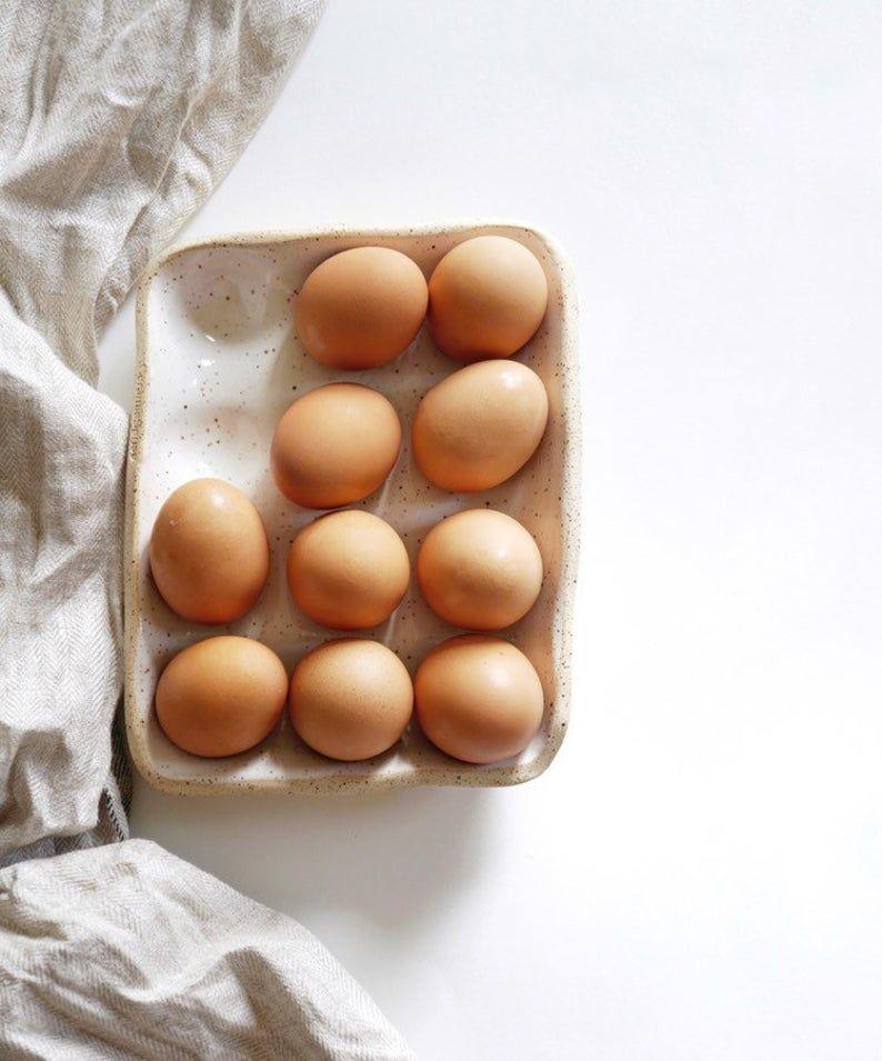 Egg Nest Dozen Ceramic Egg Holder for 12 Eggs | Etsy