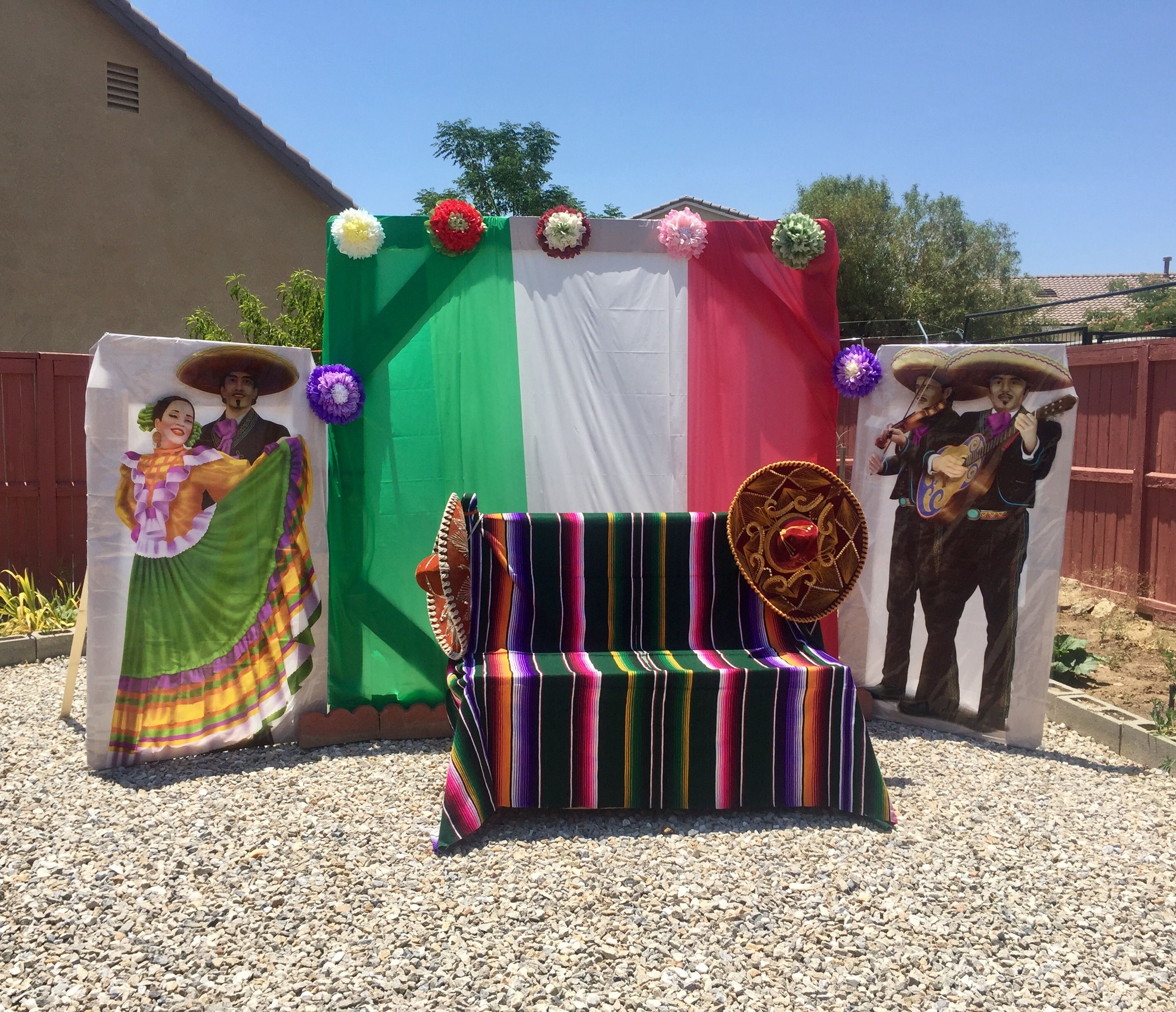 Mexican fiesta backdrop photo prop festa mexicana for Decoracion kermes mexicana