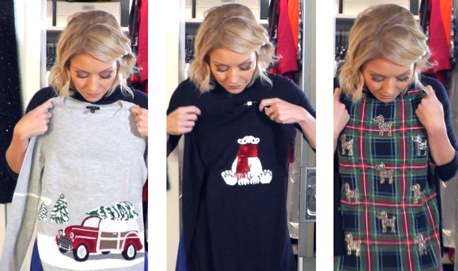 cf149b21973 Kelly Ripa s Festive Christmas Holiday Sweaters from Talbots. Plaid ...