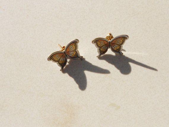 Monarch butterfly earrings pierced Vintage Reed by notdomesticated, $20.00