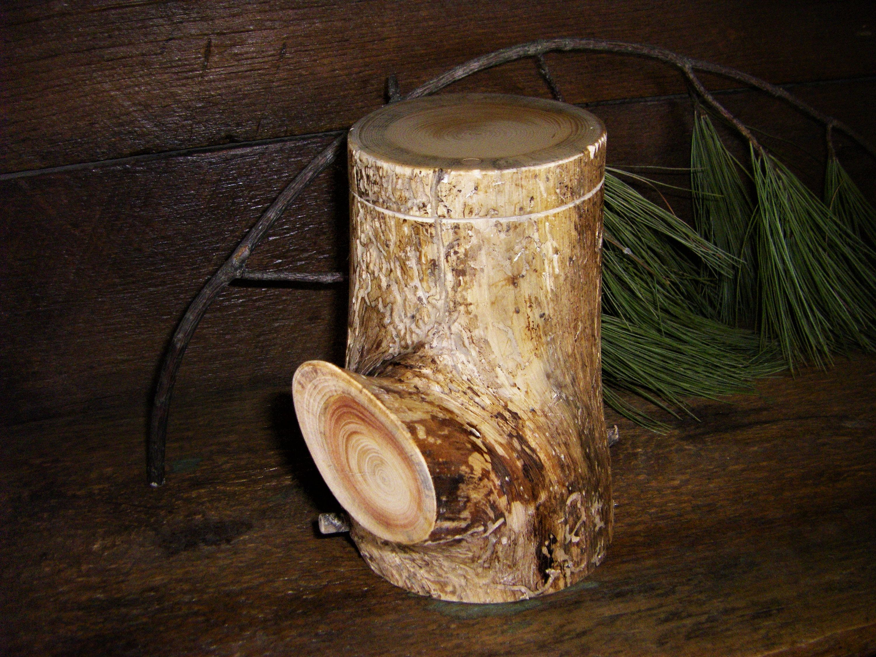 Wood Urns Pine Branch Keepsake Urn For Partial Cremation