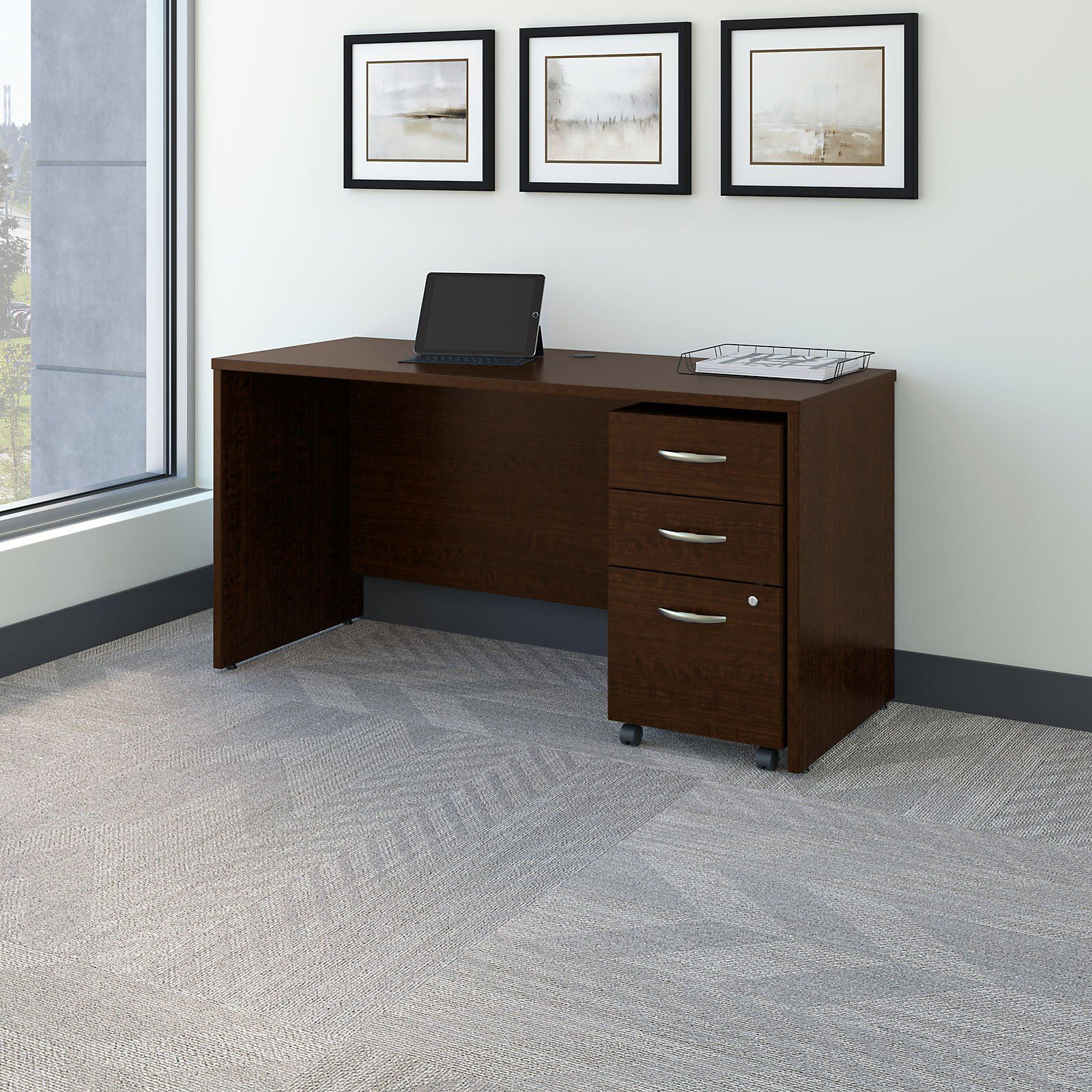 Bush Furniture Series C 60 In Office Desk With Mobile File