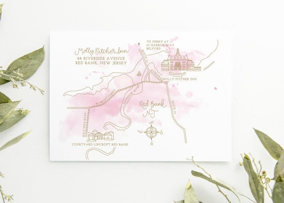 Print Map For Wedding Invitations: Illustrated Wedding Map With Watercolor