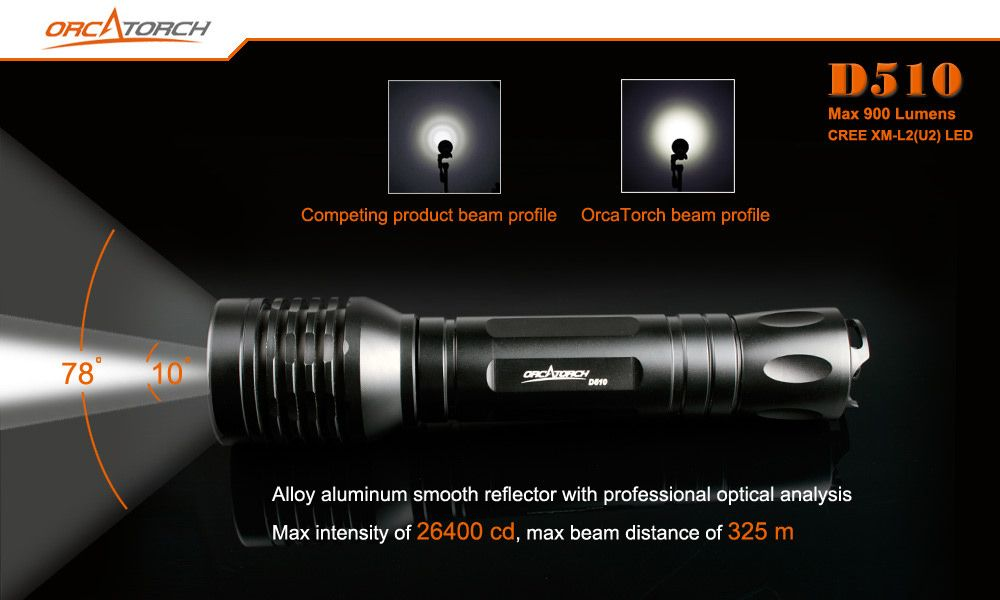 waterproof flashlight OrcaTorch D510