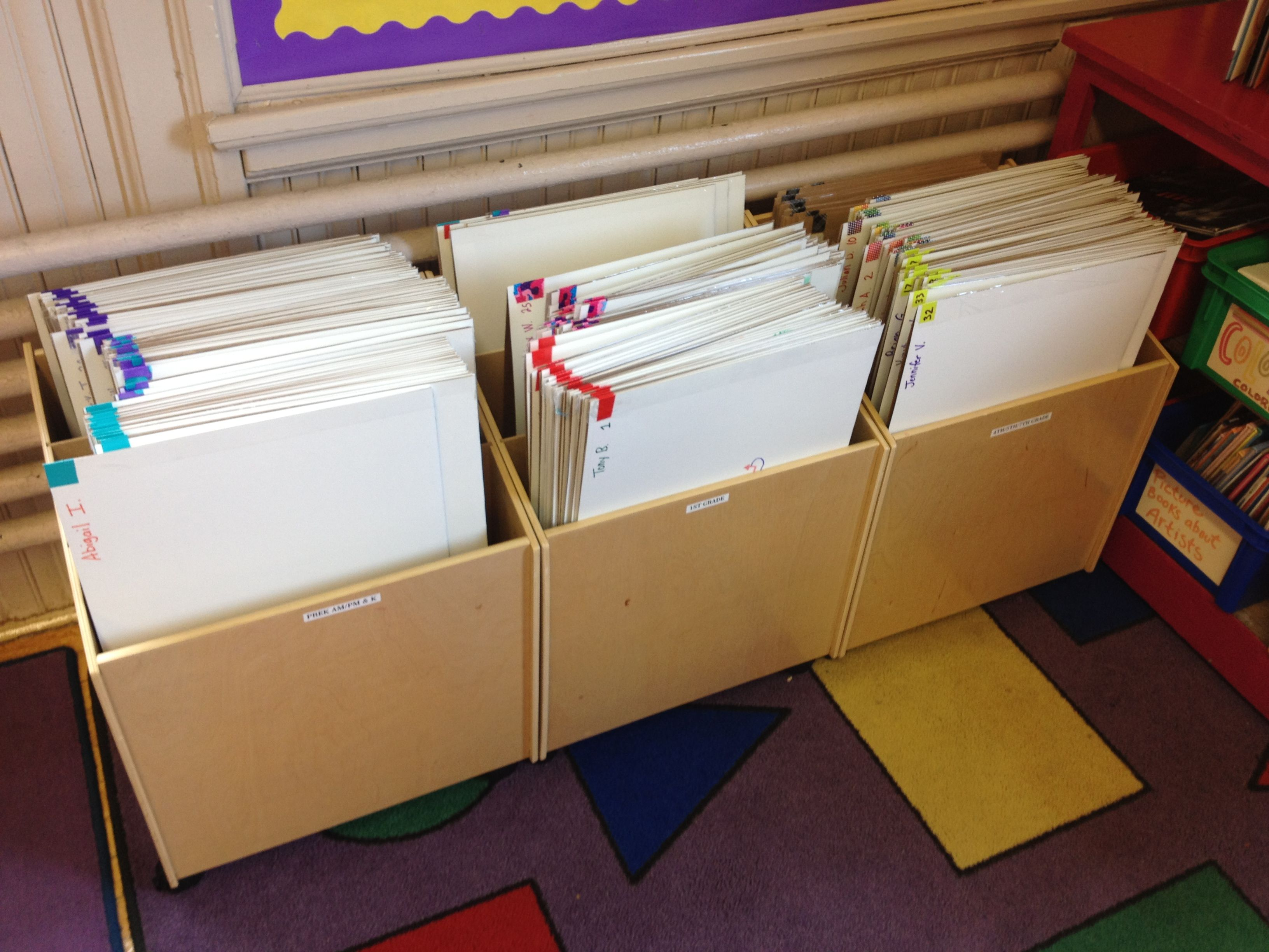 Quick Classroom Ideas : Student portfolio storage system color coded by class for