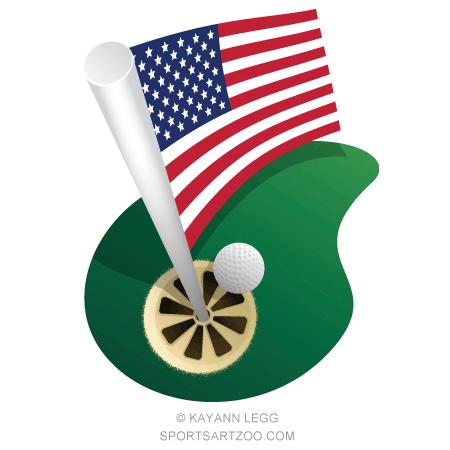Golf Usa Flag Hole Sportsartzoo Flag Usa Flag Sports Art