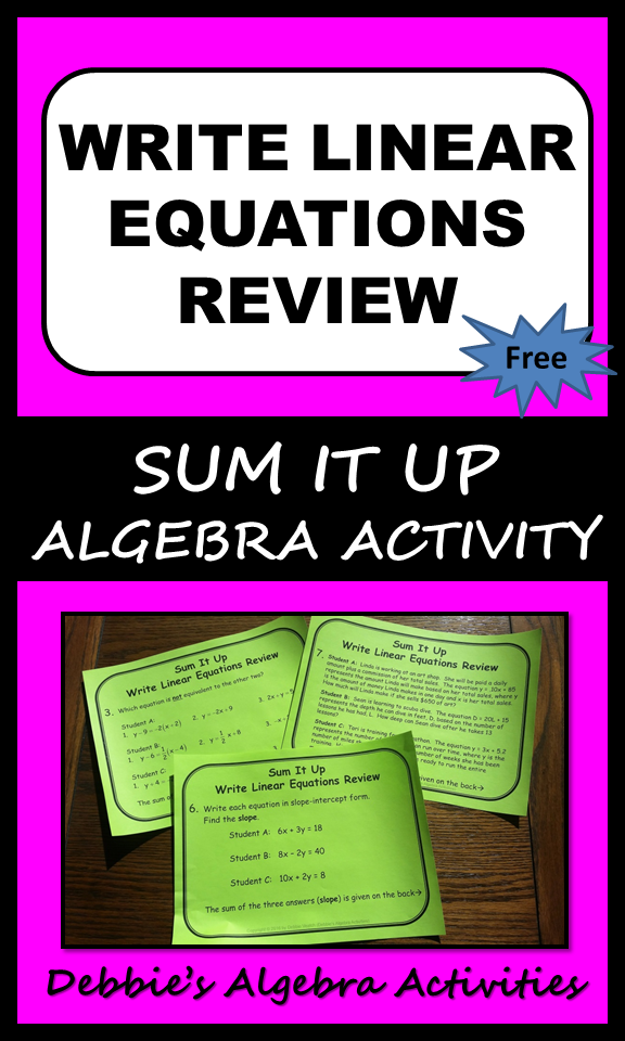 This Is A Great Free Algebra Activity To Write Linear Equations Into