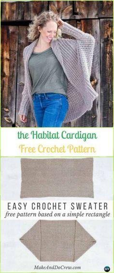 Crochet Habitat Cardigan From Rectangle Free Pattern Crochet Women