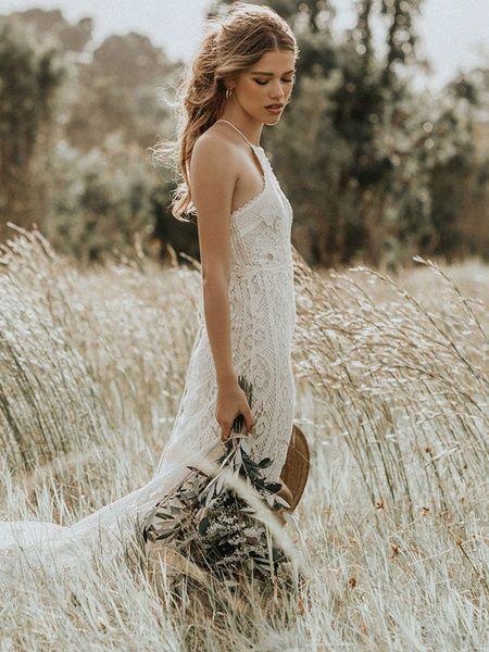 Robe de mariée Boho 2020 dentelle robe de mariée longueur de train de licol sans manches avec train
