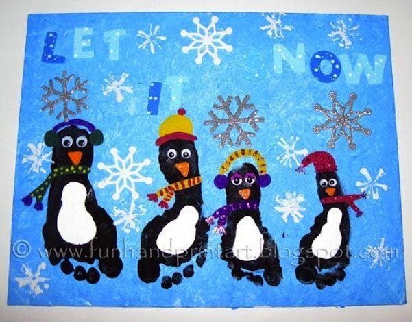 Super Spaß Weihnachten Footprint Art #handabdruckweihnachten