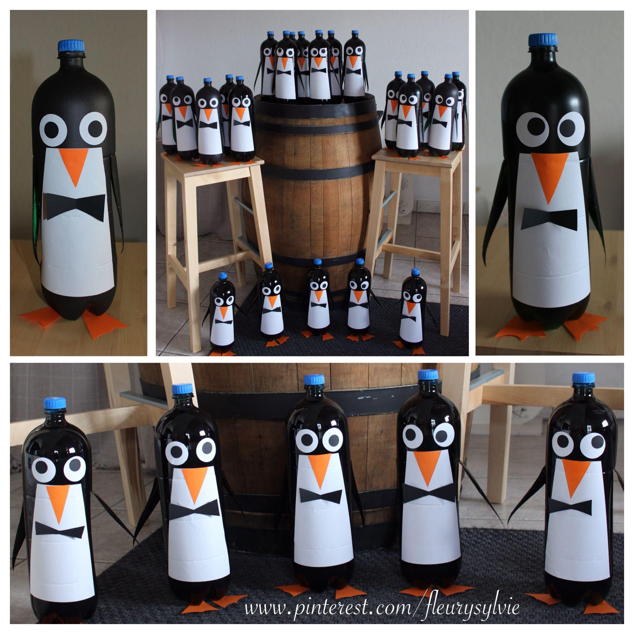 Pingouins rigolos avec bouteilles pet 2l http pinterest for Deboucher toilette avec bouteille