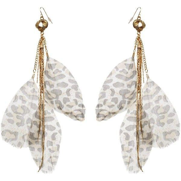 Leopard Print Feather Earrings
