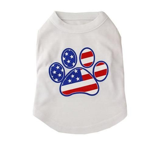 542ac529e167 American Flag Dog Paw Print Tank Top - White | Products | Dog paws ...