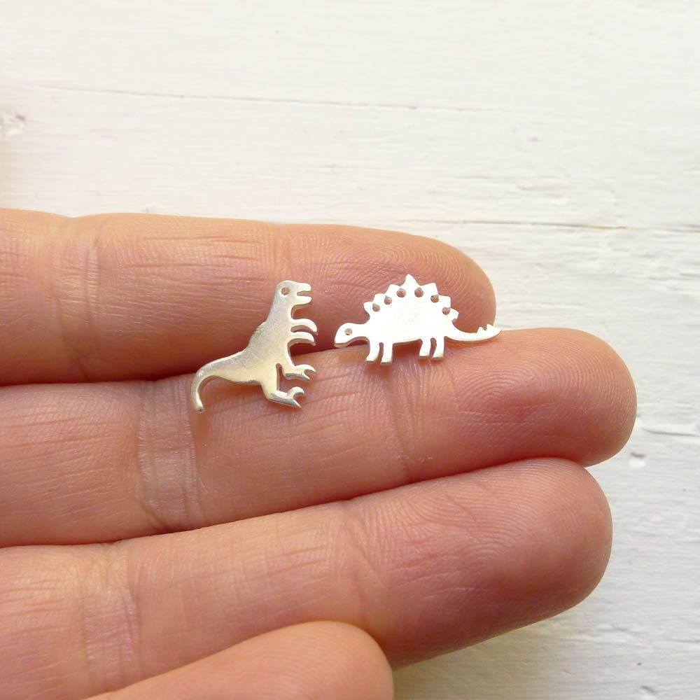Dinosaur Earrings Mismatched Studs Posts with Animals Earings