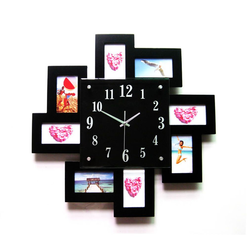 8 photo frame black display wall clock time family album modern 8 photo frame black display wall clock time family album modern home decor 45cm more amipublicfo Gallery