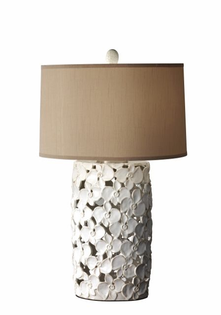 This Lamp Features A Ceramic Base With Overlapping Flowers In An Openwork Style These White Flowers Create A Softer Loo Table Lamp Lamp Light Table