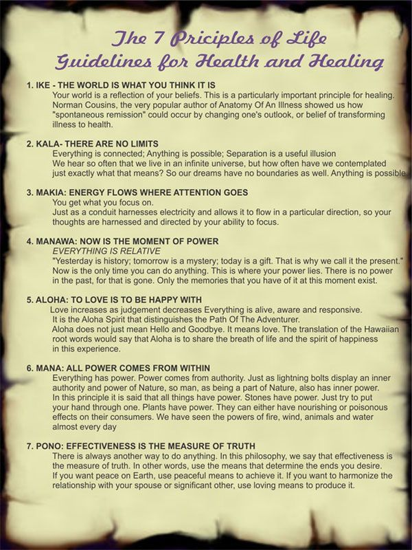 Here are seven principles of life, health, and healing based on ...