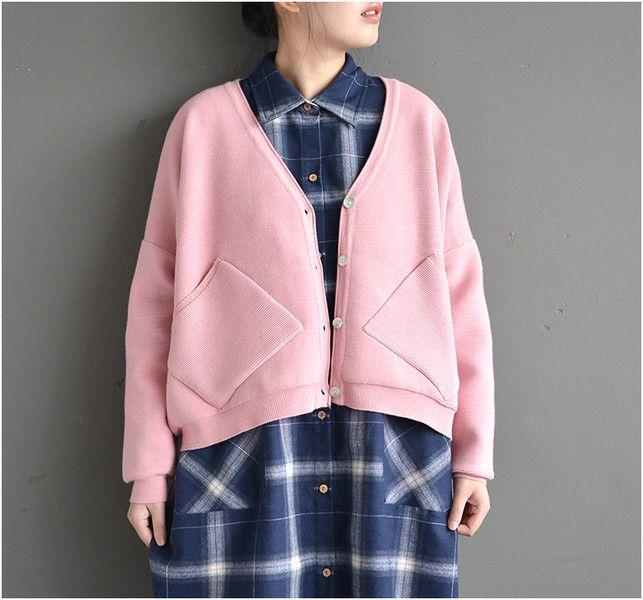 Cardigans, gilets, PINK Cocoon Woolen Oversize New Knitted Cardigan est une création orginale de SevenSpace sur DaWanda