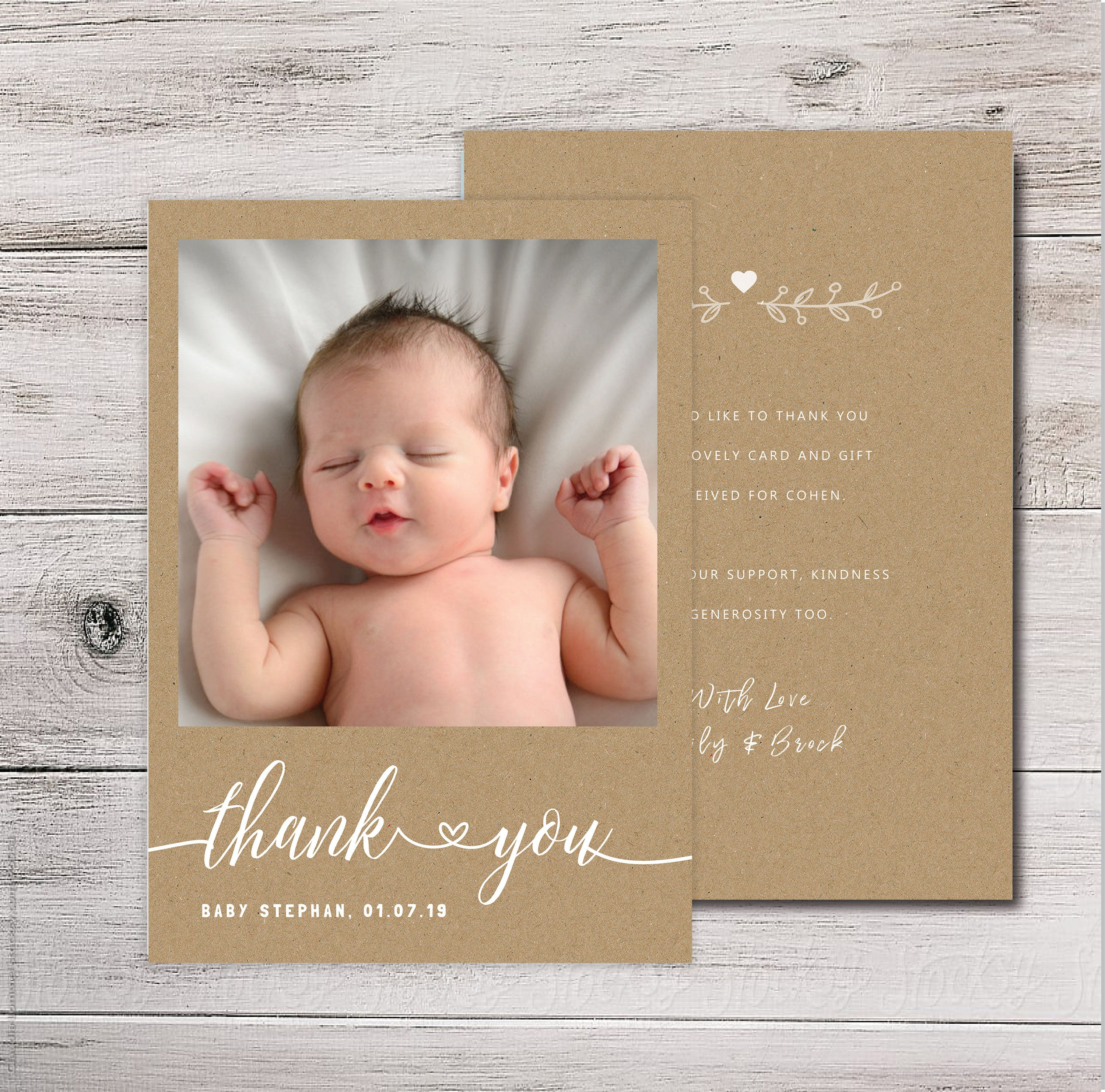 Baby Thank You Cards Baby Thank You Card With Photo Rustic Etsy Baby Thank You Cards Baptism Gifts For Boys Baby Boy Baptism Gifts