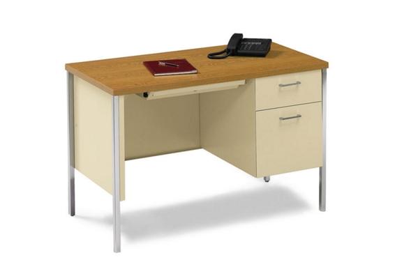 45 X 24 Single Pedestal Steel Desk By Hon Nbf Com With Images Steel Desk Desk Hon Office Furniture