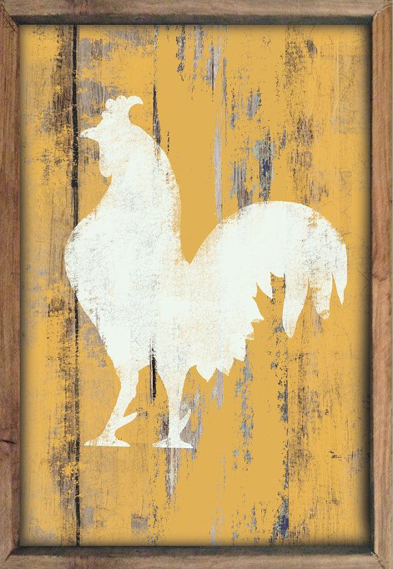 Wooden Rooster sign framed out in reclaimed by DesignHouseDecor ...