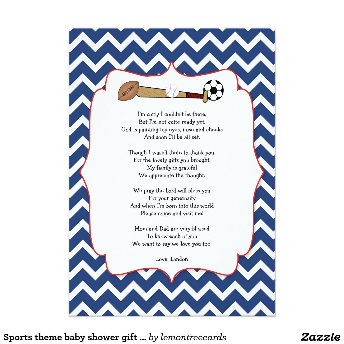 Sports Theme Baby Shower Gift POEM Thank You Note Card